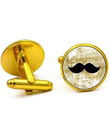 Acero inoxidable bigote ACERO Engravable Ronda Clásica mancuernas de los hombres de negocios de oro 1Pair