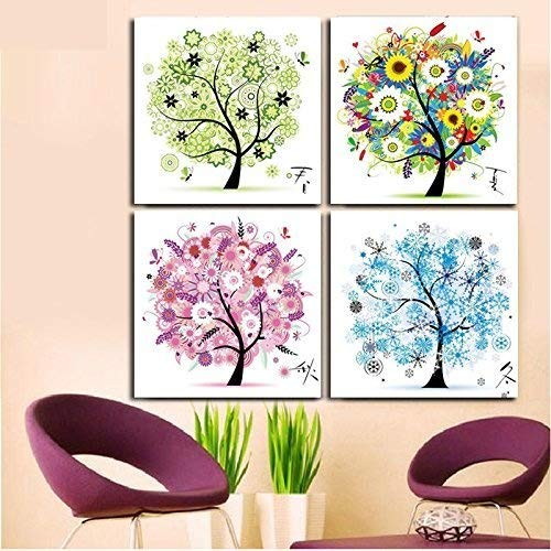 unted Cross Stitch Cotton Thread Kits Beautiful Rich Color Flowers Happy Tree -- Four Seasons (Four seasons) ()
