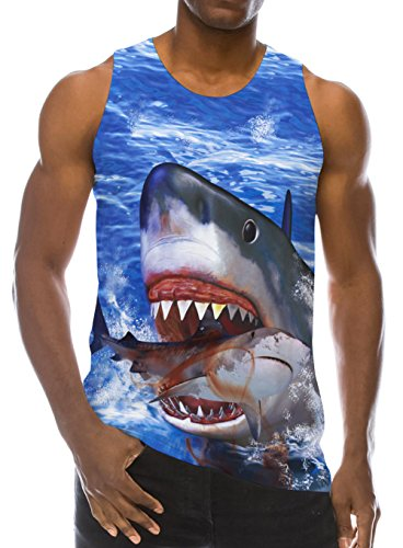 (RAISEVERN Fashion Shark Poster Pattern 3D Print Casual Realistic Underwaist Gym Mens Tank Tops for 90s, Shark, X-Large)