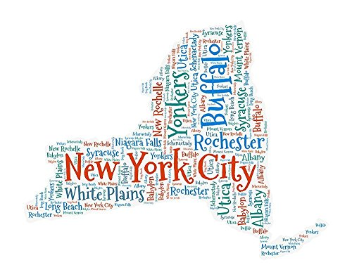 New York Map Art, NY State Cities Wall Decor Print 8 x - Ny Niagara Stores Falls In