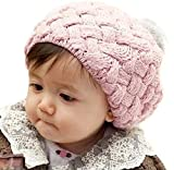 Baby Infatnt Toddler Knit Crochet Rib Pom Pom Cap Beanie Hat Pink