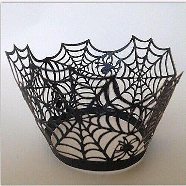 HJLHYL Halloween Spider Web Cupcake Wrapper,Laser Cut,Party Favor Decoration 60pcs , black]()
