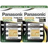 Panasonic Evolta HHR-3XXE Lot de 8 piles AA NiMh préchargées et prêtes à l'emploi, rechargeables 2450 mAh