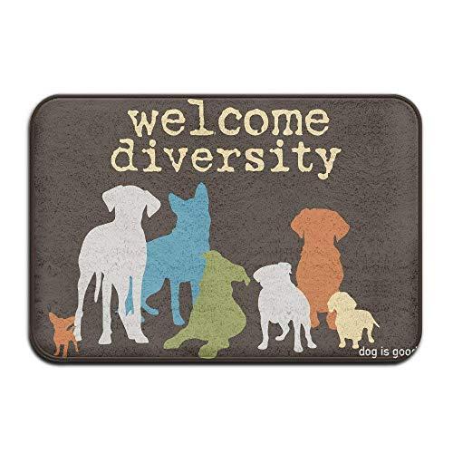 Yohafke Custom Welcome Diversity Weclom Carpet Non-Slip Floor Rugs Mat for Outdoor/Bath/Toilet/Living Room/Dining ()