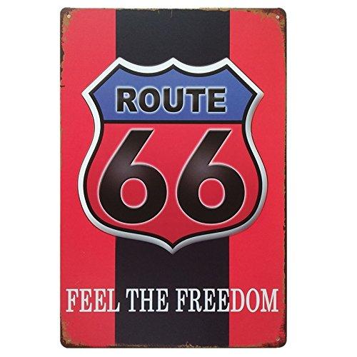 MARQUISE & LOREAN Ruta 66 Decoración Pared | Placa Decorativa Vintage Route | Cartel Chapa Póster (Rojo y Negro, 20 x 30 cm)