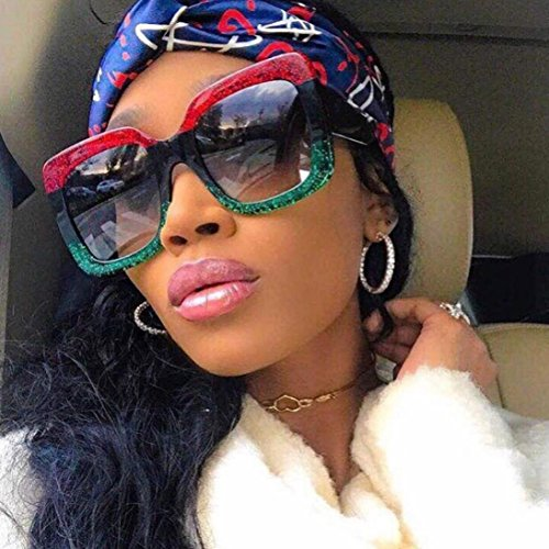 Sunglasses Oversized Oval (DDLbiz NEW Oversized Square Luxury Sunglasses Gradient Lens Vintage Women Fashion (C))