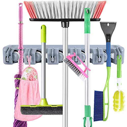 JOSHNESE Mop Broom Holder, Broom Hanger with 5 Positions and 6 Hooks, Wall Mounted Broom Organizer Home Tools Storage Rack for Kitchen Garden and Garage (Garage Broom Hanger)