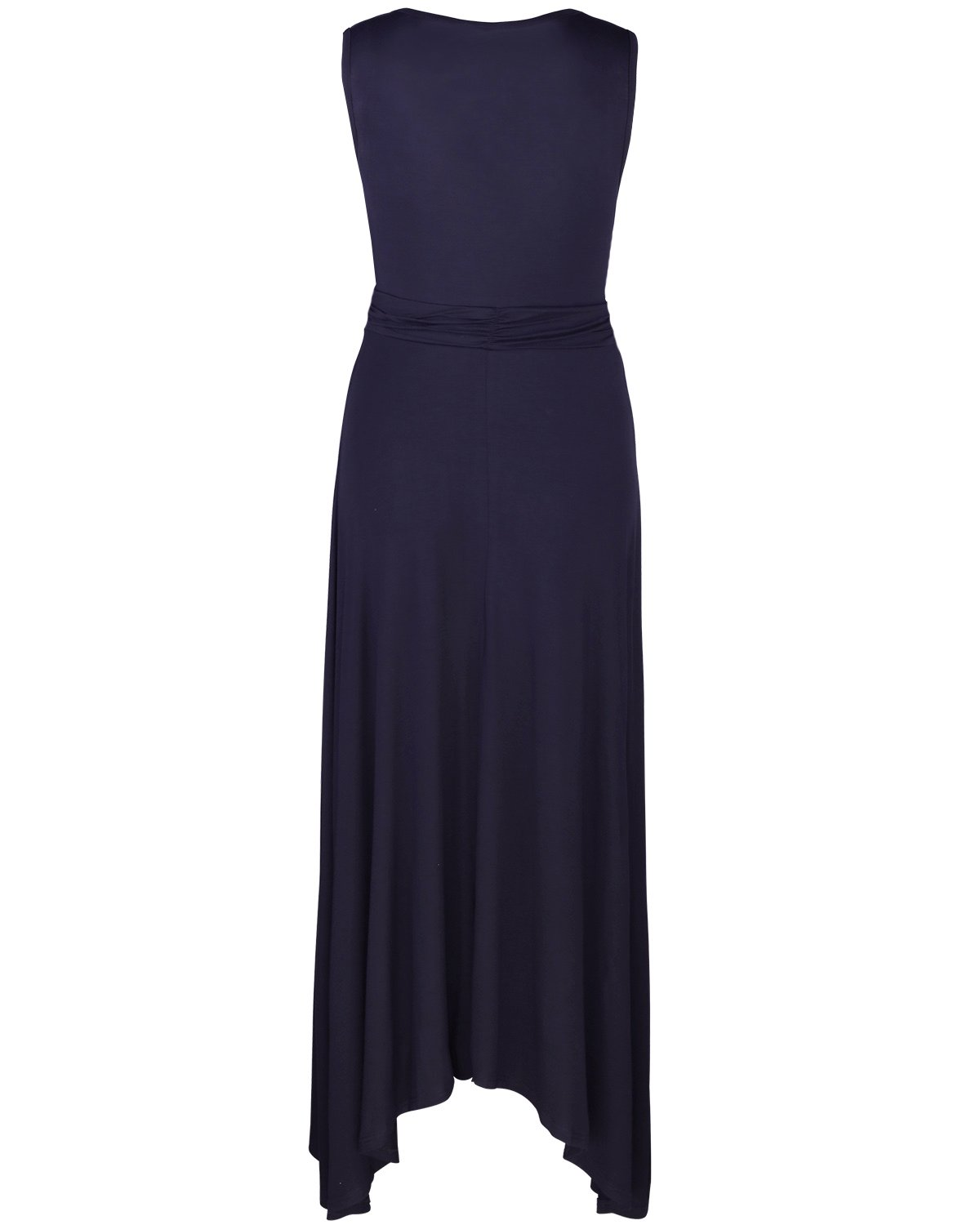 OUGES Women's V Neck Sleeveless Summer Casual Long Maxi Dresses(Navy,S) ¡­ by OUGES (Image #4)