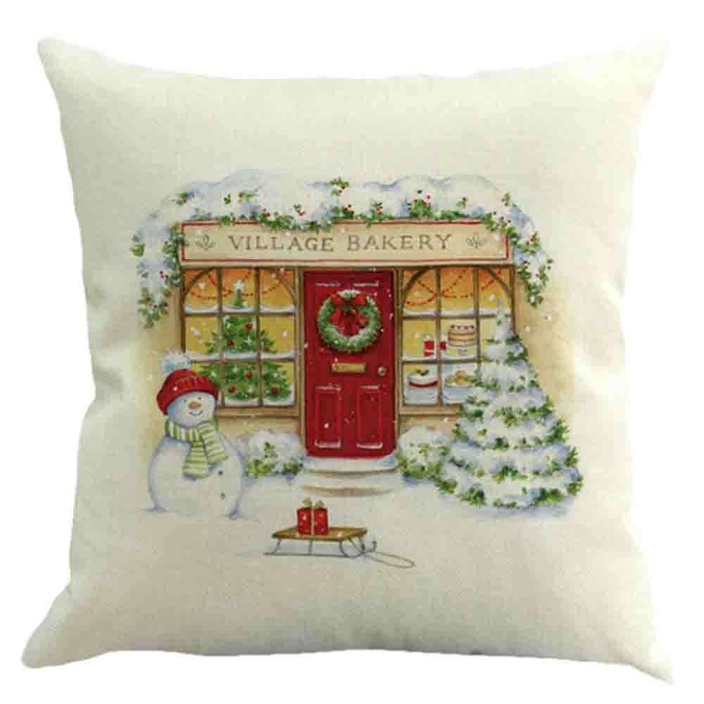 BHYDRY Christmas Pillow Cases Personalised Cotton Linen Sofa Car Home Waist Cushion Cover (45cmX45cm/18X18,A) Imported