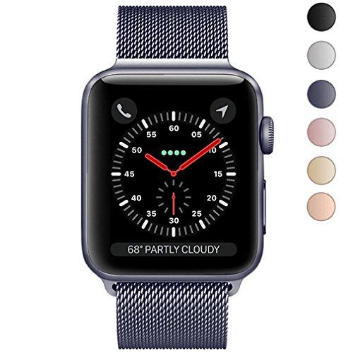 For Apple Watch Band 42mm, KYISGOS Strong Magnetic Milanese Loop Stainless Steel Replacement iWatch Strap for Apple Watch Series 3 2 1, Space Gray