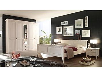 Schlafzimmer komplett Riva (4er Set) Kiefer massiv Weiss ...