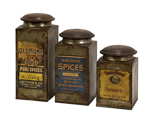 CC Home Set of 3 Antique Vintage Label Wood and Metal Can...