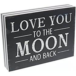 "Barnyard Designs Love You to The Moon and Back Wooden Box Wall Art Sign, Primitive Country Farmhouse Home Decor Sign with Sayings 8"" x 6"""