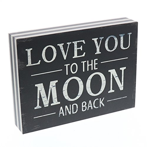 Barnyard Designs Love You To The Moon And Back Wooden Box Wall Art Sign, Primitive Country Farmhouse Home Decor Sign With Sayings 8