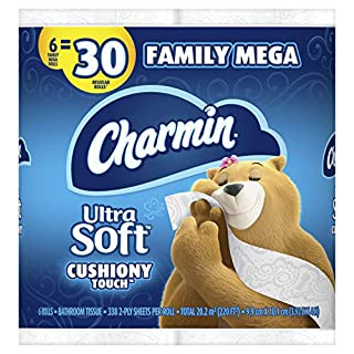 Charmin Ultra Soft Cushiony Touch Toilet Paper, 6 Family Mega Rolls = 30 Regular Rolls (Prime Pantry)