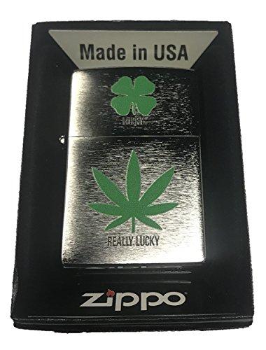 (Zippo Custom Lighter - 4 Leaf Clover Lucky 7 Weed Pot Leaf Marijuana Really Lucky)