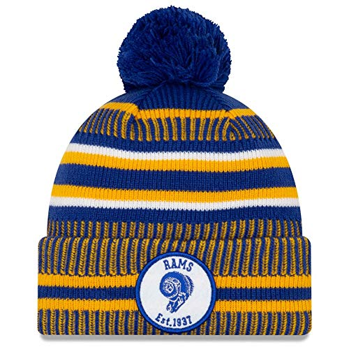 New Era Los Angeles Rams 2019 Historic Sideline Home Pom Sport Knit Hat (Rams Hat New Era)