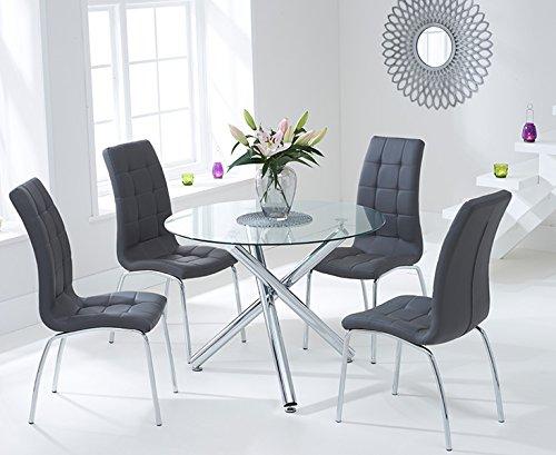 Athen 100cm Glas Esstisch und anthrazit Set Stühle