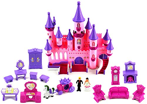Fairy Princess Castle - Fairy Princess Castle 24 Toy Doll Playset w/ Lights, Sounds, Prince and Princess Figures, Horse Carriage, Castle Play House, Furniture, Accessories