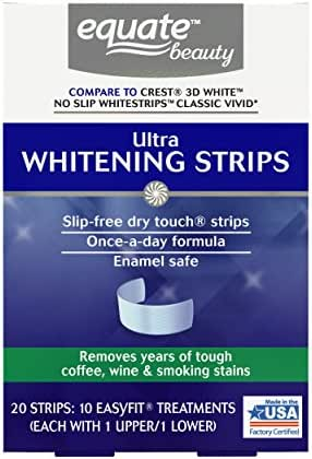 Ultra Teeth Whitening Strips, 10 Treatments (Compare to Crest 3D White No Slip Whitestrips Classic Vivid) Removes Years Of Tough Coffee, Wine And Smoking Stains, Slip-Free Dry Touch Whitening Strips