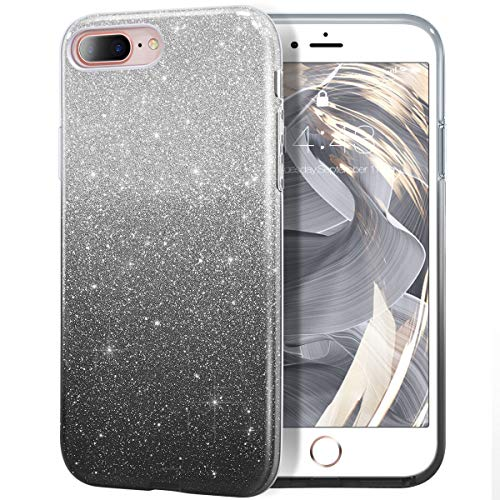 MILPROX iPhone 8 Plus Case, iPhone 7 Plus Glitter Sparkly Pretty Cute Premium 3 Layer Hybrid Anti-Slick/Protective/Soft Slim Thin Case for Girls/Women iPhone 7 Plus / 8 Plus - Black Silver