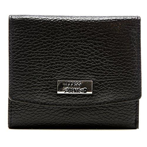 Genuine Leather Wallet Womens Trifold Slim Compact RFID Blocking, Black Pebble Pebble Grain Tri Fold Wallet
