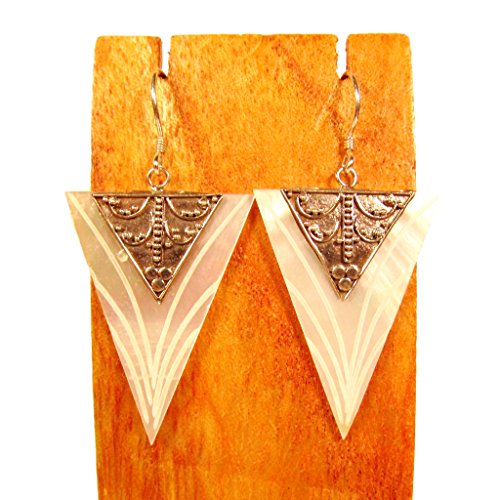 Sterling Silver Mother of Pearl Shell Art Deco Dangle Earrings Bali Bay Trading Co
