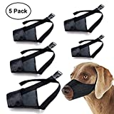 Dog Muzzle Nylon Set(5 IN 1) Adjustable Breathable Safety for Small Medium Large Extra Dog Anti-biting Anti-barking Anti-chewing Safety Protection(Black) (Black)