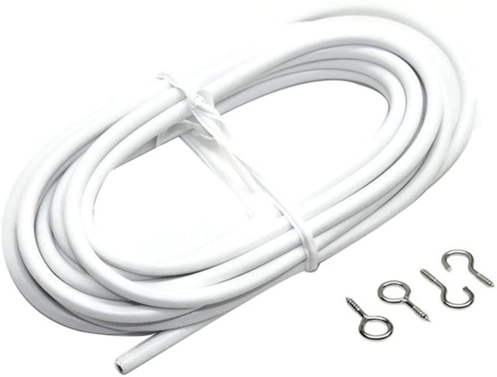 Net Curtain Wire White Window Cord Cable With FREE HOOKS /& EYES Choose Lengths