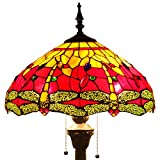 Tiffany style floor lamp lighting S009R series W16 inch red dragonfly shade E26