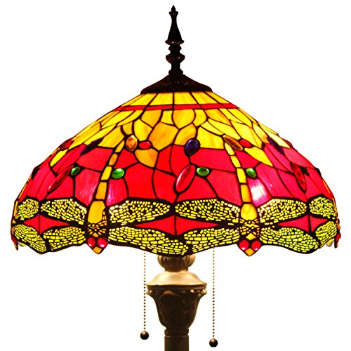Red Dragon Lamp (Tiffany style floor lamp lighting S009R series W16 inch red dragonfly shade E26)