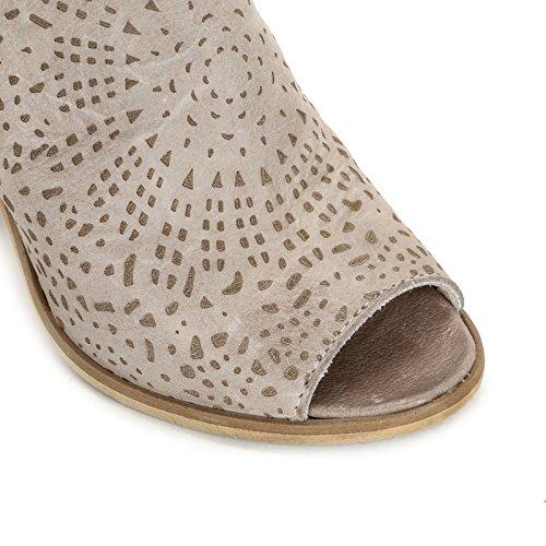 ALESYA by Scarpe&Scarpe - Botines altos con grabado láser Beige