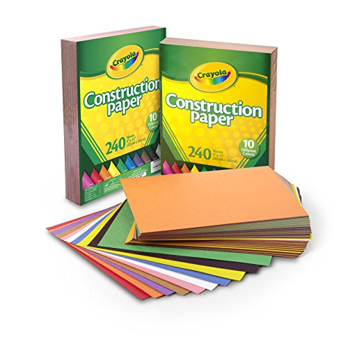 Assorted Construction Paper - Crayola Construction Paper Bulk, 10 Colors, Great For Crafts, (2 x 240) 480Count