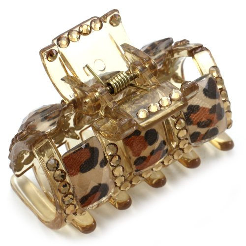 Gorgeous Zebra Stripe Animal Print Hair Claw Jaw Pin Butterfly Clip Brown Pave Rhinestones Hair Styling Accessories Gift for Women Girlfriend Mom