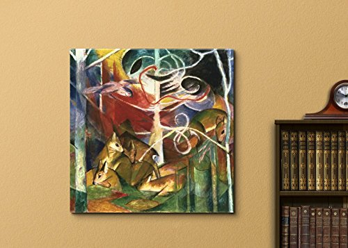 Deer in the Forest by Franz Marc Print Famous Painting Reproduction