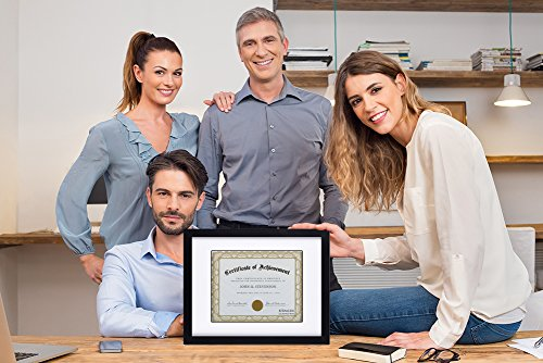 RPJC Document Frame/Certificate Frames Made of Solid Wood High Definition Glass and Display Certificates Standard Paper Frame 11X14 Mat 8.5x11 Black by RPJC (Image #5)