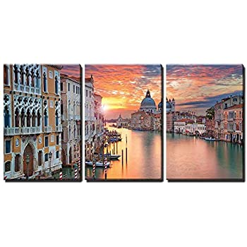 wall26 - 3 Piece Canvas Wall Art - Venice. Image of Grand Canal in Venice, with Santa Maria Della Salute Basilica - Modern Home Decor Stretched and Framed Ready to Hang - 16