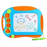 OMorc Magnetic Drawing Board - Erasable Colorful Magna Doodle Drawing Board Toys for Kids with 4 Stamps and 1 Pen - Writing Sketching Pad - Gift for Little Boys Girls Kids Children - Travel Size