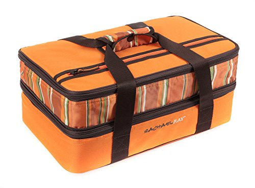 Casserole Orange (Rachael Ray Expandable Lasagna Lugger, Double Casserole Carrier for Potluck Parties, Picnics, Tailgates - Fits two 9