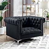 Oxford Black Leather Chesterfield Clubchair - Silver Metal Y-Legs | Button Tufted | Nailhead Trim | Modern | Contemporary | Inspired Home