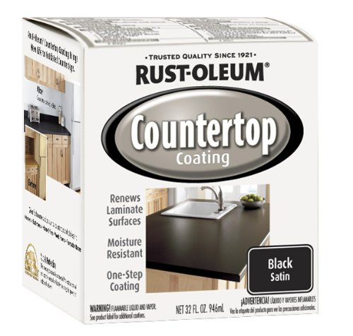 Rust-Oleum 263209 Countertop Coating Premix, 32-Ounce Kit, Black (Paint Kit For Countertops)