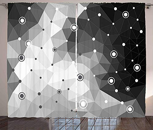 SODIKA Blackout Curtain Panels for Bedroom Windows Black and Grey Curtains Polygonal Triangles Dots and Circles Pattern Contemporary Art Inspired,2 Panels,52