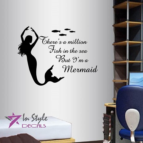 Wall Vinyl Decal Home Decor Art Sticker There's a Million Fish in The Sea But I'm a Mermaid Phrase Quote Lettering Beautiful Mermaid Girl Nymph Sea Ocean Bedroom Bathroom Living Room Removable Stylish Mural Unique Design