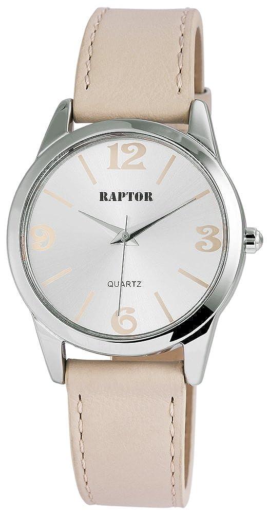 Raptor Analog Mujer reloj de pulsera con pulsera de piel en beige ...