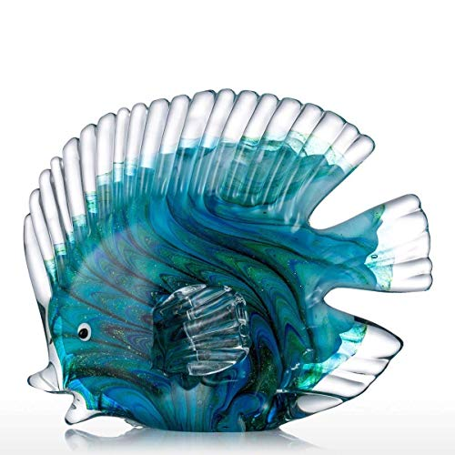 Tooarts Blue Tropical Fish Glass Sculpture Home Decoration Office Ornament