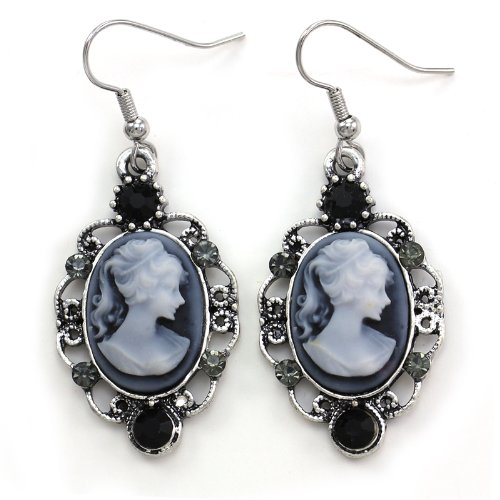 Grey Cameo Earrings Drop Dangle Black Gray Rhinestones Fashion Jewelry (Cameo Drop)