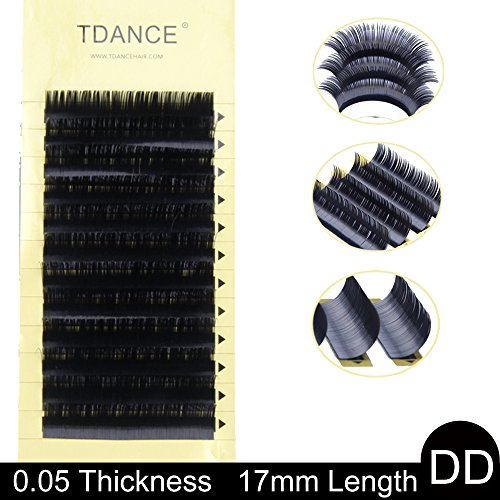 TDANCE Premium DD Curl 8-18mm Semi Permanent Individual Eyelash Extensions 0.05-0.25mm Thickness False Mink Silk Volume Lashes Extensions Professional Salon Use(DD,0.05,17mm)