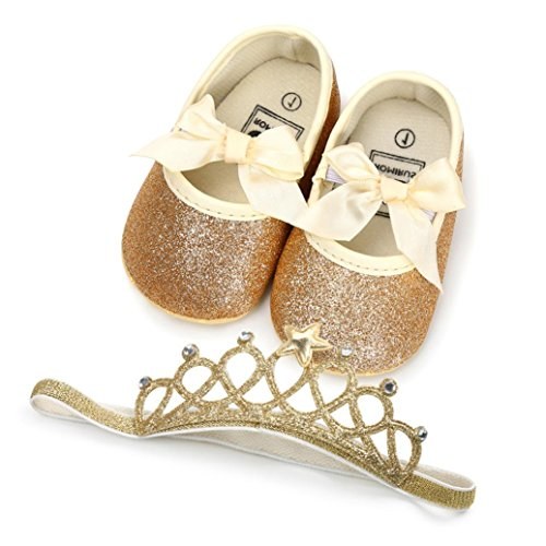 Baby Girl Sequins Bowknot Princess Shoes+1PC Hairband Toddler Soft Sole Anti-Slip First Walkers Kid Shoes (11, Gold)