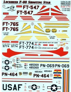 Decal for Lockheed F-80 Shooting Star Print Scale 72-168 for sale  Delivered anywhere in USA