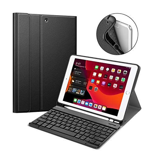 Fintie Keyboard Case for New iPad 7th Gen 10.2 Inch 2019, Soft TPU Back Protective Stand Cover with Built-in Pencil Holder, Magnetically Detachable Wireless Bluetooth Keyboard for iPad 10.2